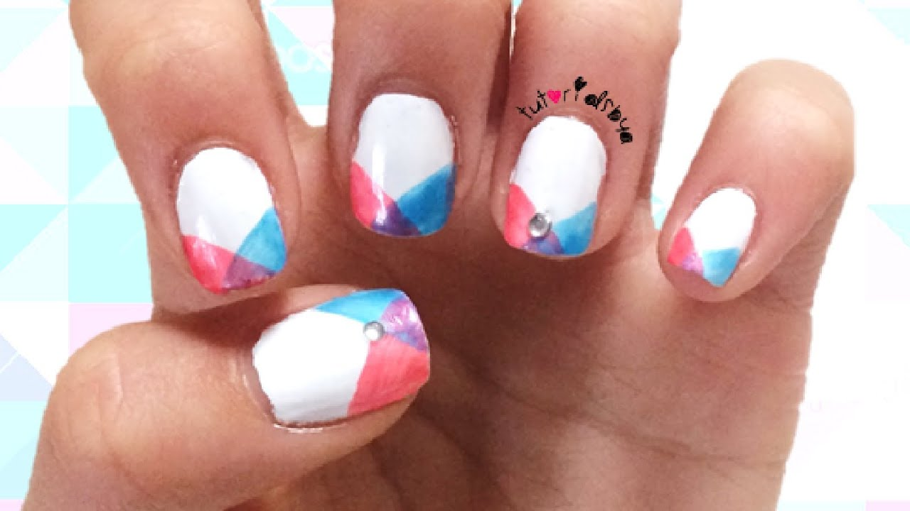 Easy Simple Instersecting Geometric Nail Design Tutorial How To