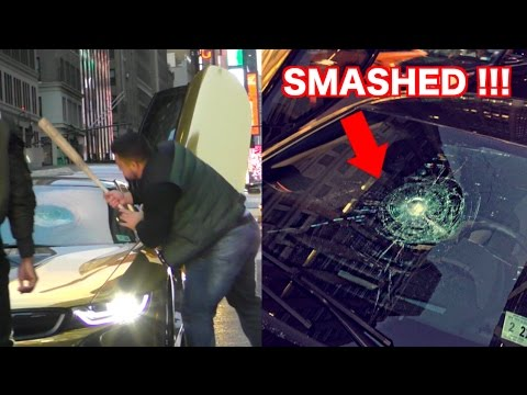 Gold Chrome Bmw I8 Smashed With A Bat Youtube