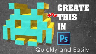 Photoshop Tutorial: Easily create a Space Invader character with Rectangle tool and 3D Filter