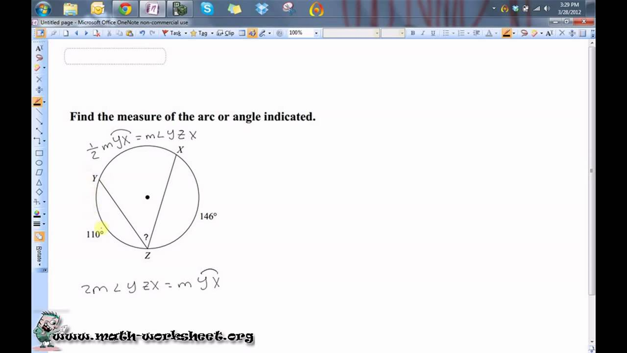 Geometry Circles Inscribed Angles Medium YouTube – Inscribed Angle Worksheet