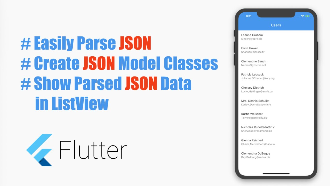 # Google's Flutter Tutorial- Easily Parse Complex JSON, Create JSON Model Classes.