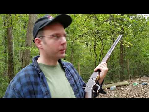 Shooting antique 1873 Winchester 38-40 rifle