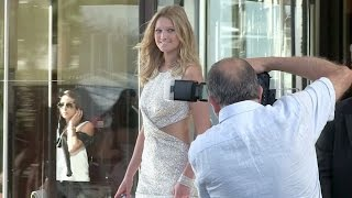 Toni Garrn and celebrities getting out of the Martinez hotel in Cannes
