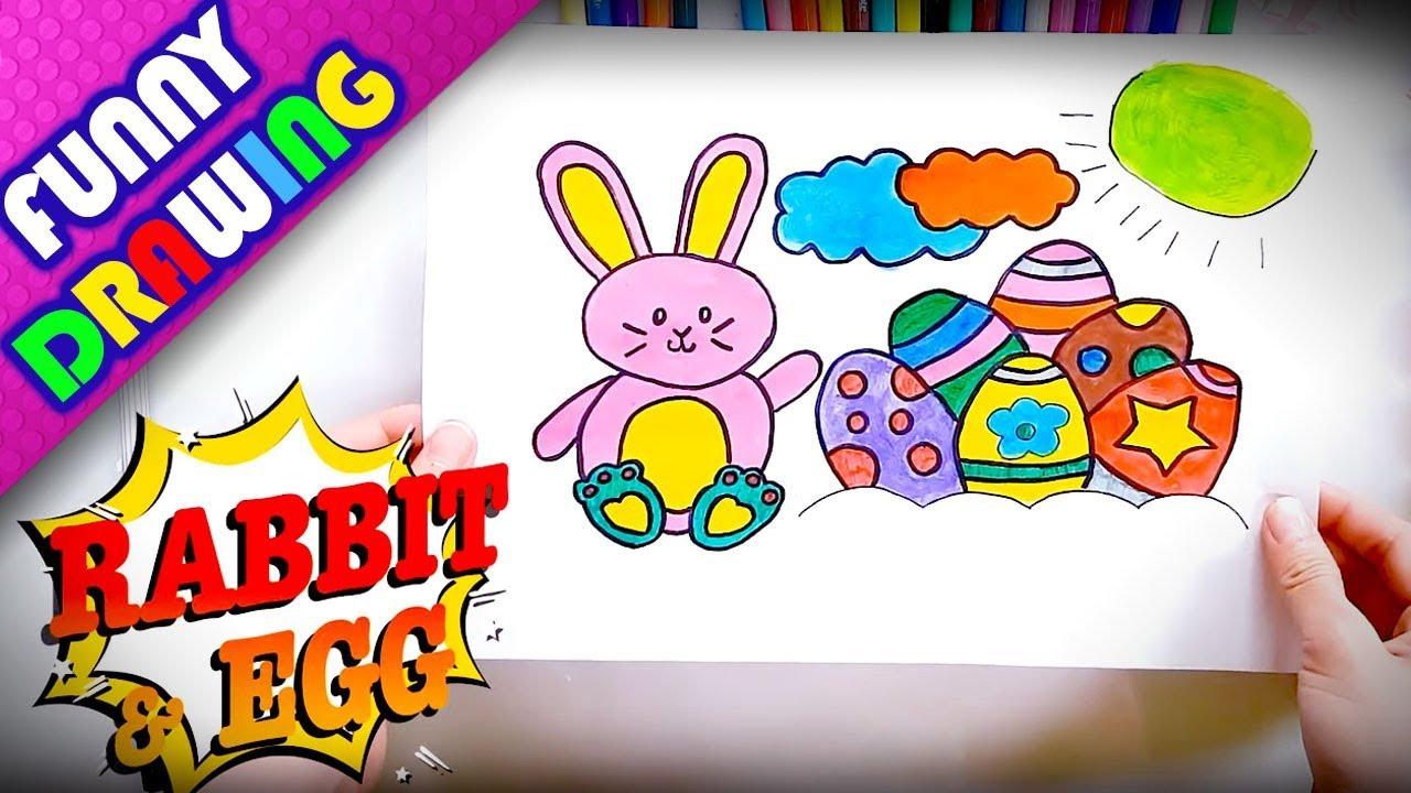 DIY - How to draw a Rabbit and Magic Egg easy - Dạy bé vẽ và tô màu