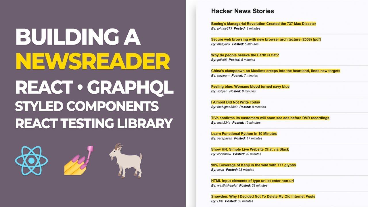 React Tutorial - Building a Newsreader (3/3) - GraphQL & Apollo Hooks - React Tutorial 2020