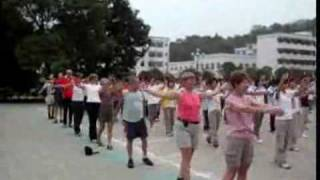 Doing morning exercises with middle school students   Video From China Odyssey Tours