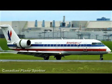 RARE! American Eagle (old livery) CRJ-200 Landing at Montreal-Trudeau Int'l Airport