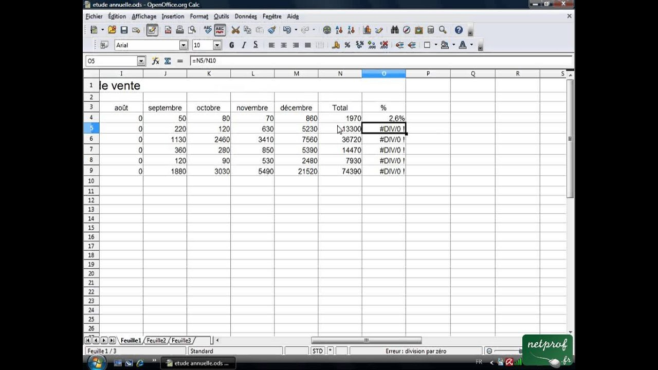 Open office ou libre office tableur 19 calcul de pourcentages youtube - Diagramme sur open office ...