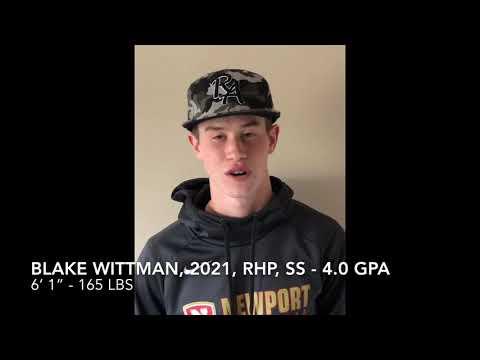 Blake Wittman 2021 RHP/SS 4.0 GPA Recruiting Video