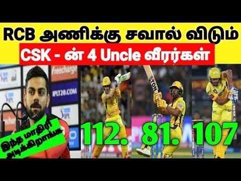 கோஹ்லியின் RCB அணிக்கு சவால் விடும் CSK - ன் 4 Uncle வீரர்கள் | IPL 2019 | CSK Vs RCB