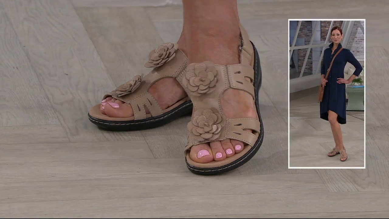 5abe0f994af Clarks Leather Lightweight Sandals with Flower Detail - Leisa Claytin on QVC