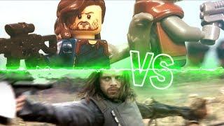 Lego Avengers Infinity War Bucky Rocket Raccoon fight scene Lego Stop Motion Side by Side Comparison
