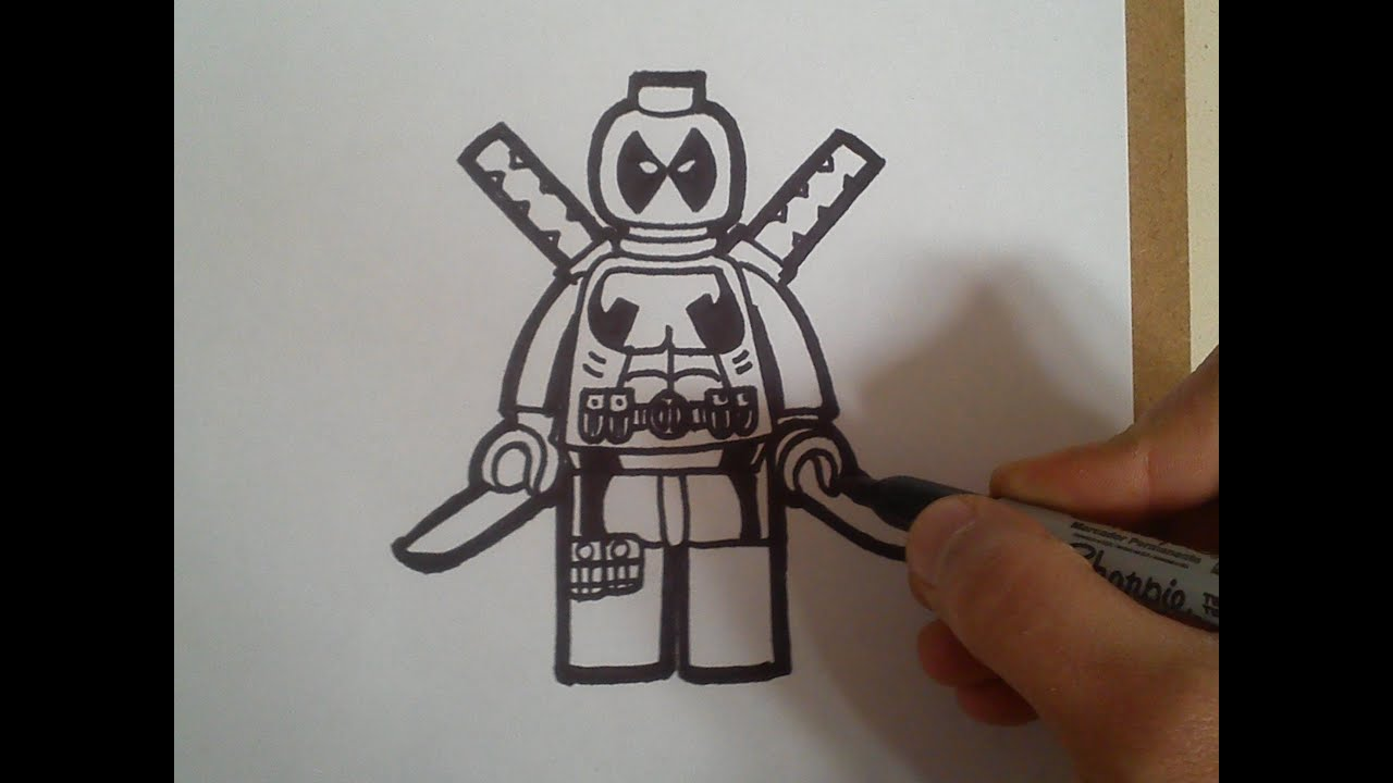 "Como Dibujar A Deadpool ""lego"" / How To Draw A Deadpool"