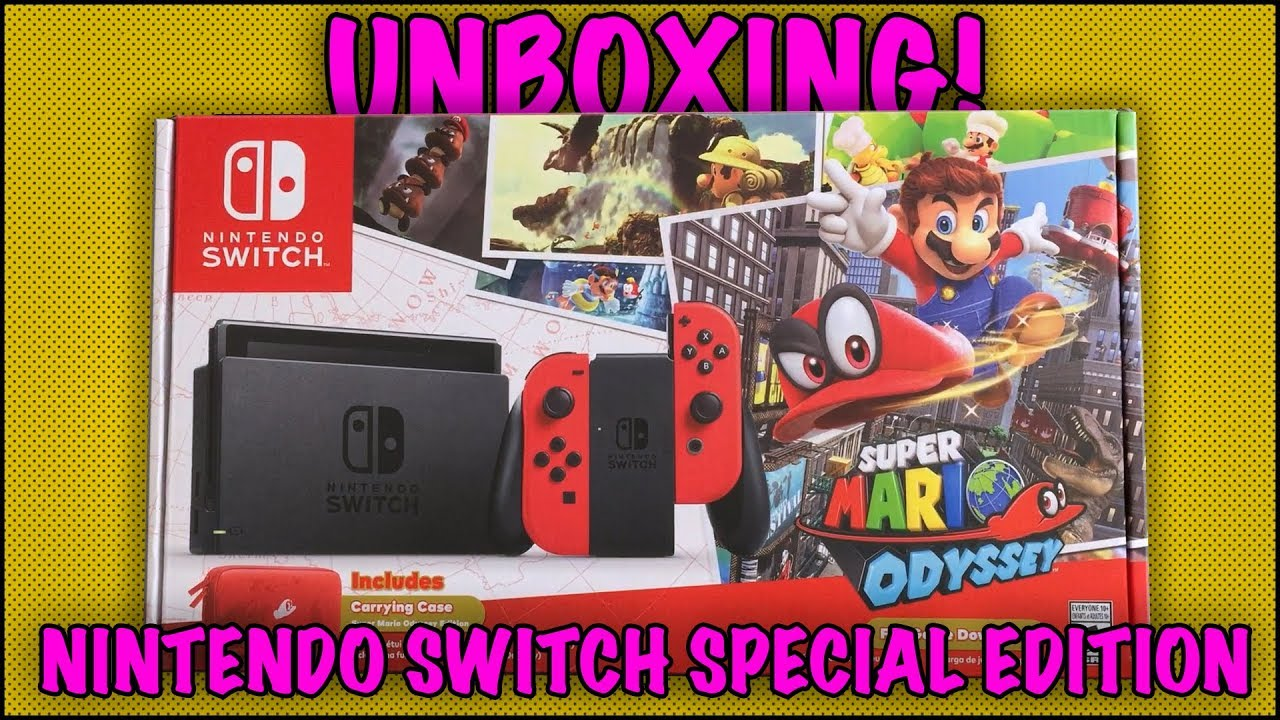 Unboxing Nintendo Switch Super Mario Odyssey Bundle 2017