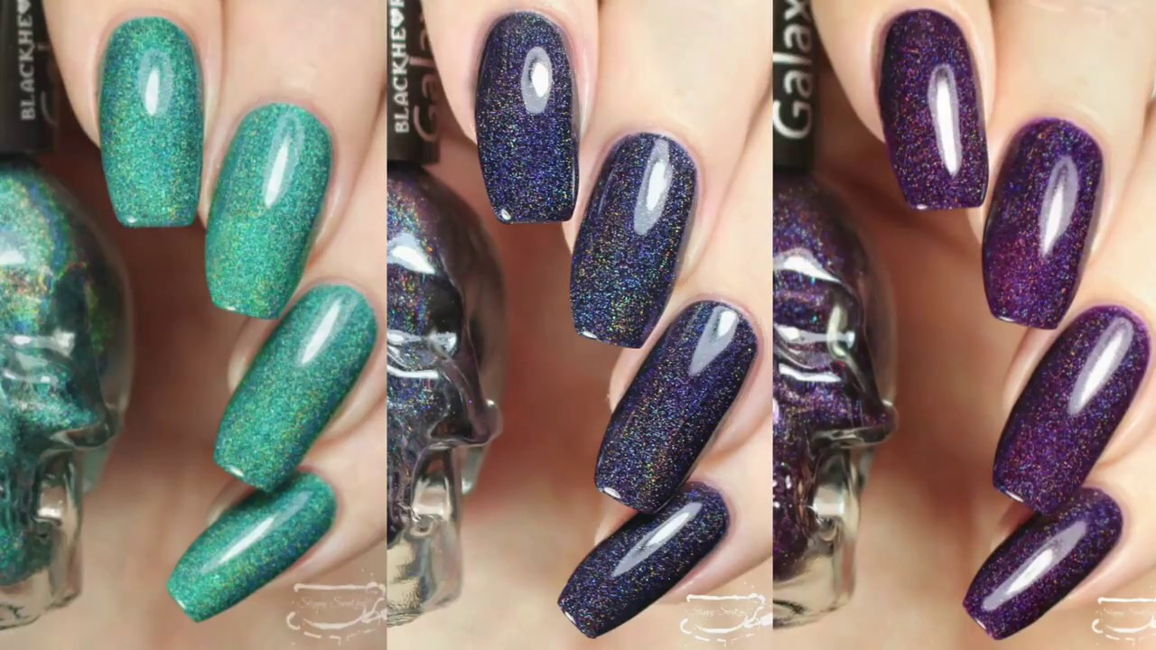 Swatches | Holographic BlackHeart Beauty Nail Polishes - YouTube
