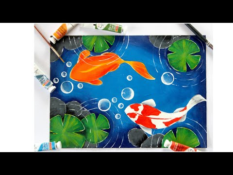 Koi Fish Pond Painting || Easy Acrylic Painting For Beginners || Koi Fish Acrylic Painting