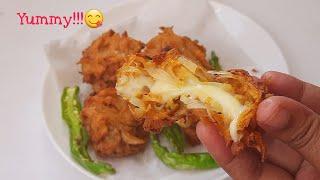Cheesy onion pakoda//10min eveฑing snack recipe//cheese stuffed crispy onion pakoda