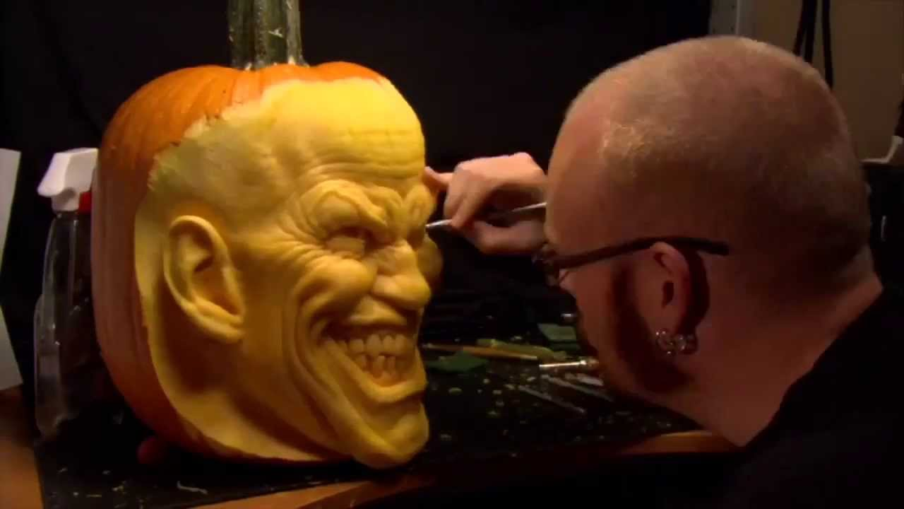 The Joker Pumpkin Carving By Andy Bergholtz Youtube