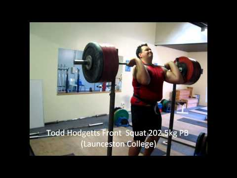 Todd Hodgetts Front  Squat 202.5kg PB (Launceston College).wmv
