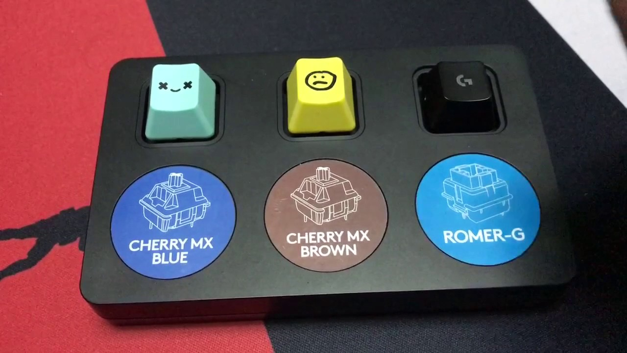 Switch test : Cherry Blue / Cherry Brown / Logitech Romer-G - YouTube