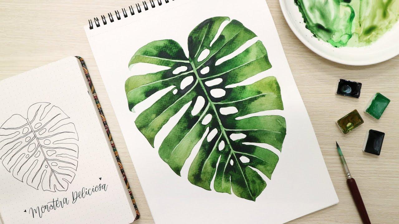 ART#43 |Vẽ trầu bà lá xẻ với màu nước| Monstera plant| Watercolor Tutorial