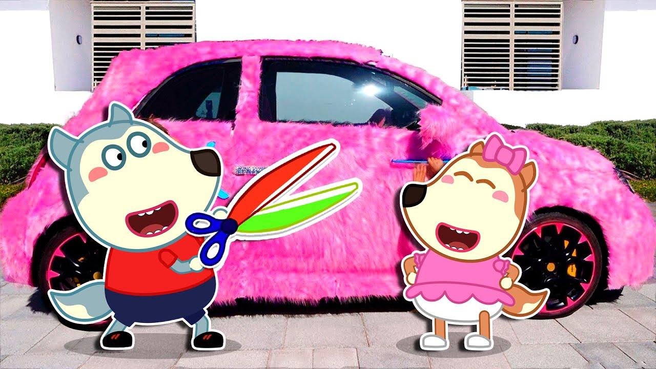 ذئب صغير وسيارة وردية للبنات | كارتون للأطفال | Wolfoo Arabic