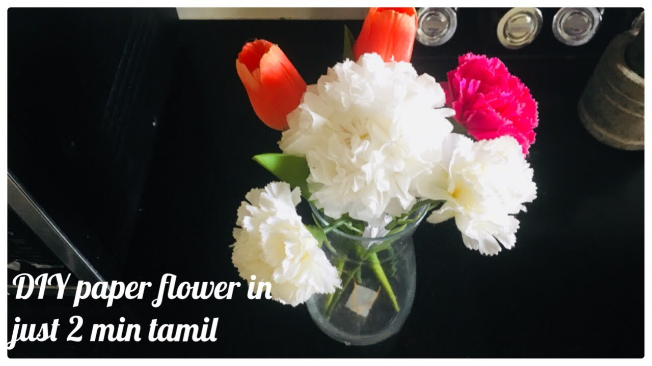 How to make diy paper flower using tissue paper in just 2 min in how to make diy paper flower using tissue paper in just 2 min in tamil diy home decor art and craft mightylinksfo