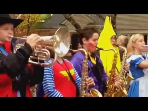 Royal Oak High School Marching Band Halloween Parade in Woodwardside!