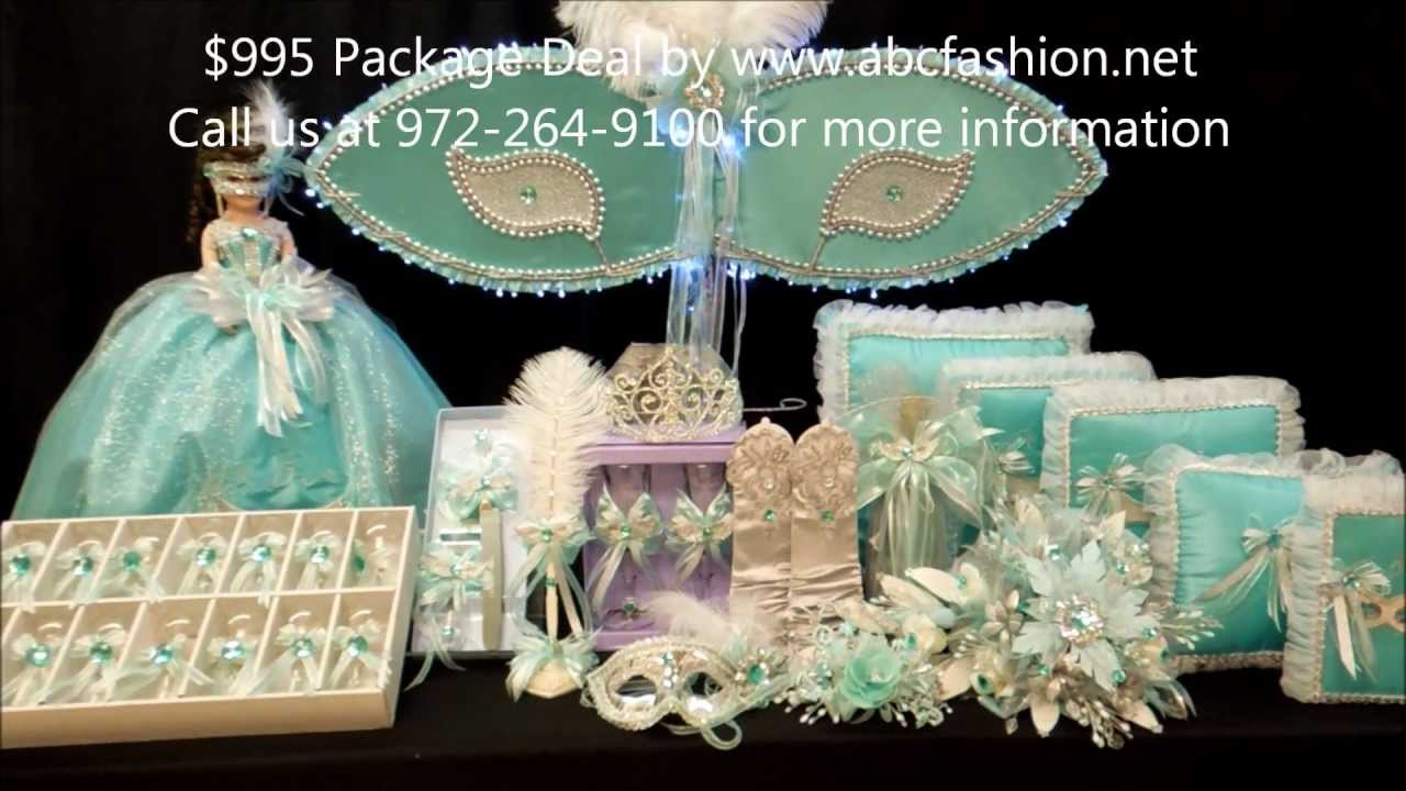 quinceanera centerpiece  large mask in aqua and silver for