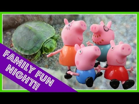 Peppa Pig's BIG SPLASH, TURTLE And GEESE Family Fun Night!! Peppa Pig and Family Playset