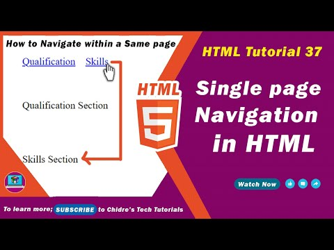 HTML Video Tutorial - 37 - Html Navigation Within Same Page