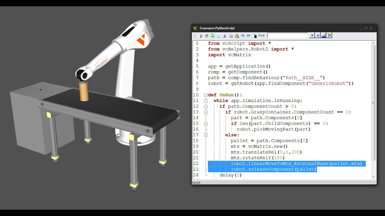 Python Robotics - 6 - Place Parts On Moving Objects