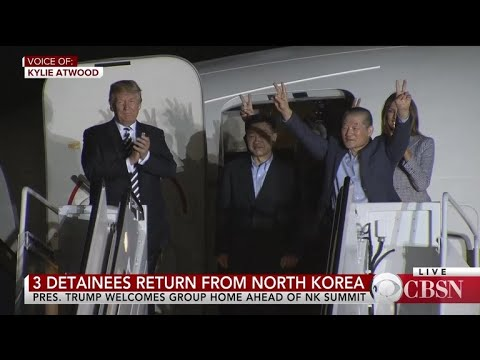 Trump greets Americans freed by North Korea at Joint Base Andrews