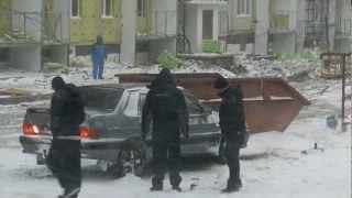 замерзли тормозные колодки!!!.MOV