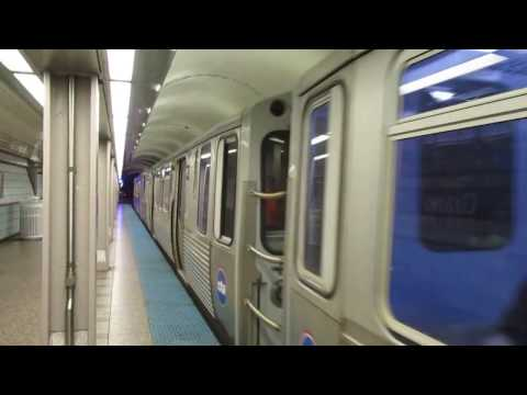 "CTA ""L"" Trains: Red Line Trains at Grand Station"