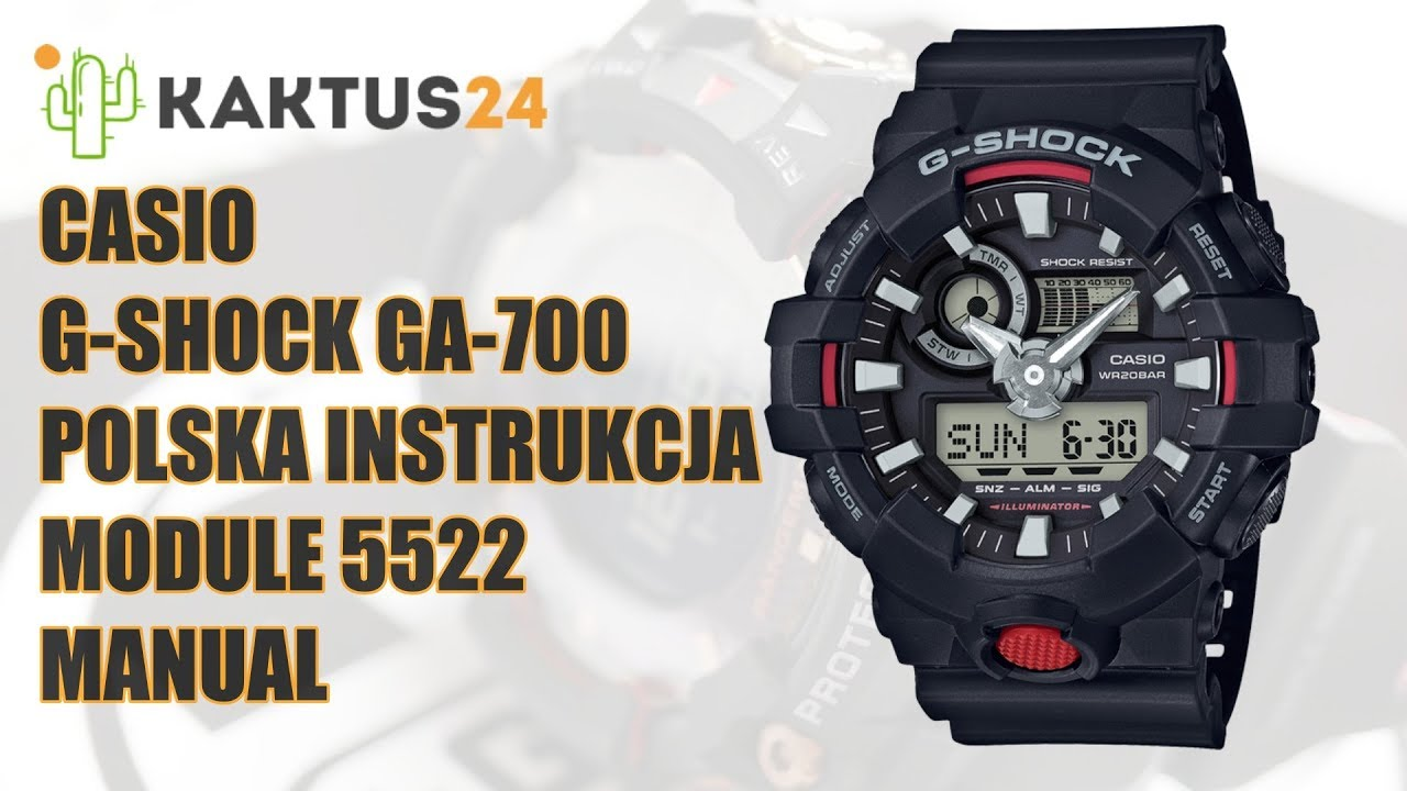 34f3a45e6 Jak ustawić Casio G-Shock GA-700 instrukcja obsługi PL ustawienia ...