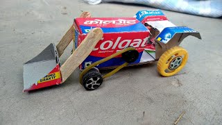 How to make toy JCB using Colgate box   how to make hydraulic JCB from cardboard