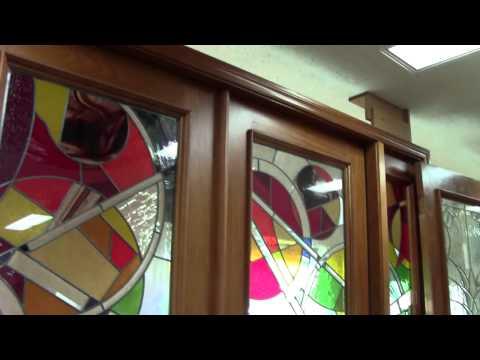 8' High Door Art Glass, Tampa custom front entry door and lock, custom entryway