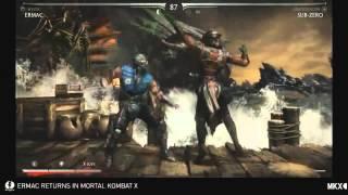 Mortal Kombat X: Gameplay Ermac vs Subzero with Fatality and X-ray