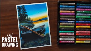 Easy Sunset view drawing with Gallery soft Oil pastel /Sunset scenery mungyo oil Pastel step by step screenshot 3