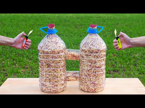 A Iot of Matches inside the bottles