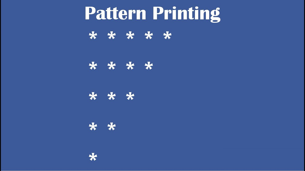 c practical and assignment programs pattern printing 2 youtube. Black Bedroom Furniture Sets. Home Design Ideas