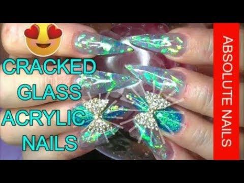 cracked glass acrylic nails