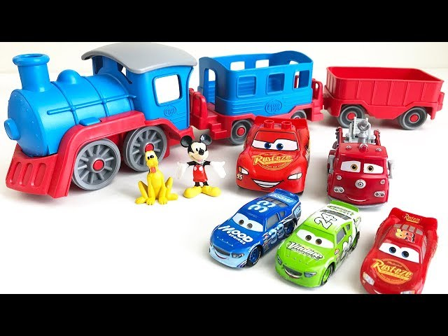 Learn Colors with Preschool Toy Train Carrying Disney Cars Mickey Mouse and Race Cars for Children