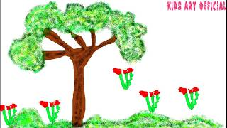 How To Draw New Style Easy Painting Tree And Flowers For kids  Drawing and Coloring for Babies