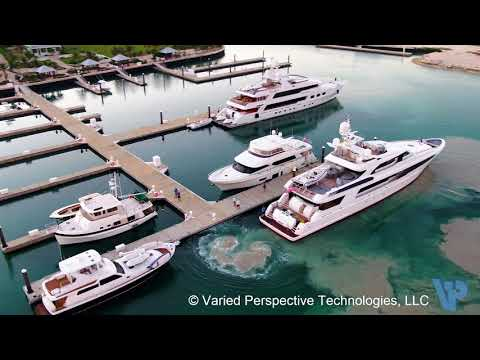 Motor Yacht Usher Docking at Chub Cay - Berry Islands, Bahamas Drone View