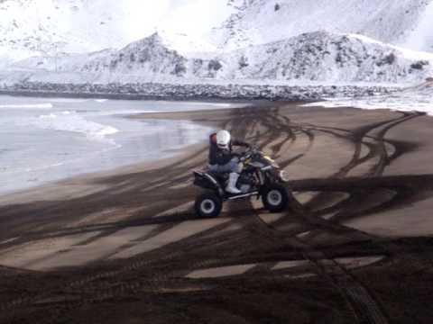 ATV bombardier ds 650 jazda po plazy  quadem pompka