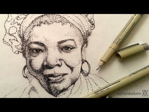 Pen And Ink Drawing Tutorials | Stipple Portrait Drawing Of Maya Angelou