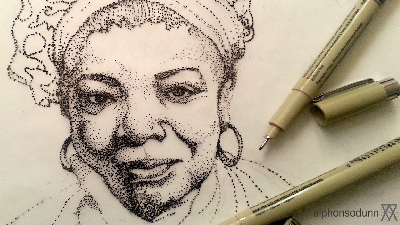 Pen and ink drawing tutorials stipple portrait drawing of maya pen and ink drawing tutorials stipple portrait drawing of maya angelou youtube ccuart Image collections