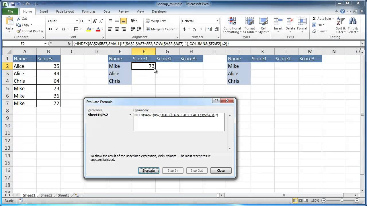 Return Multiple Results from an Excel Table with One Function